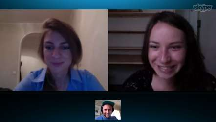 A screenshot of Anya, Julia, and Eric having a conversation on Skype