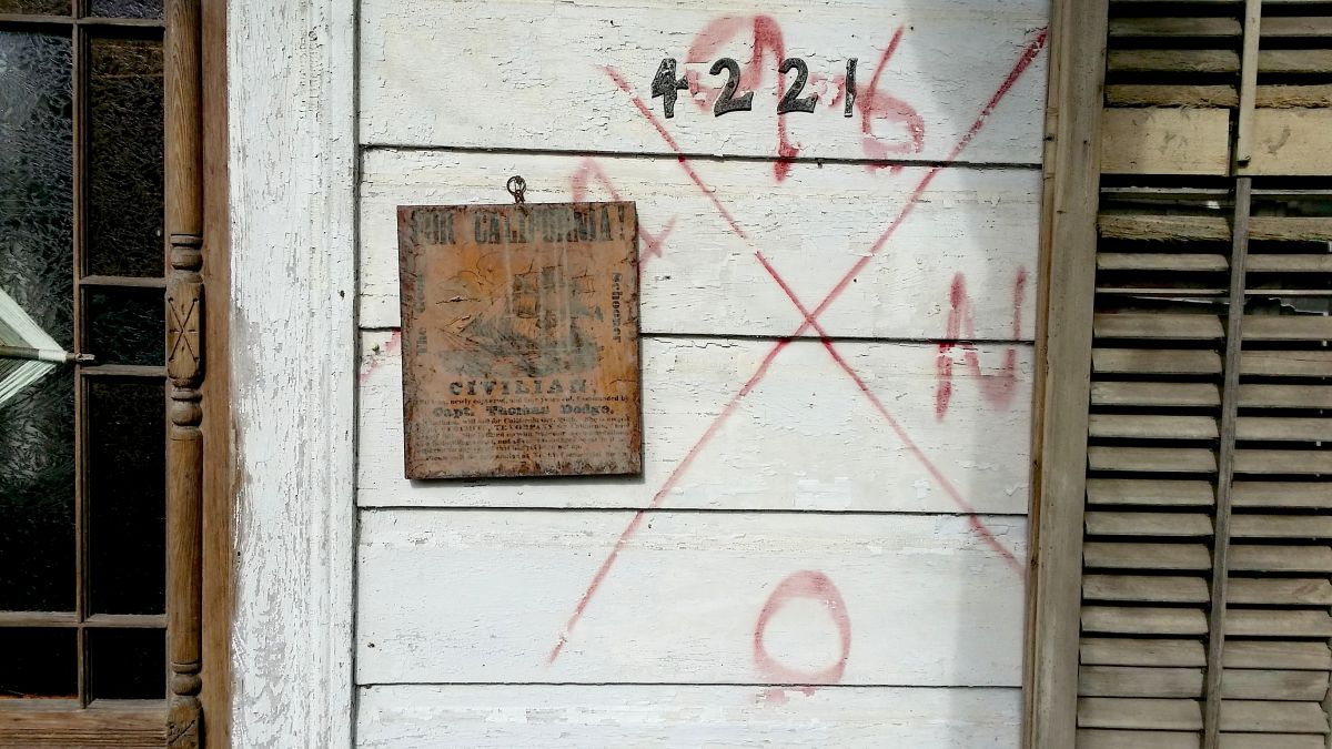 FEMA symbol on our shotgun house.