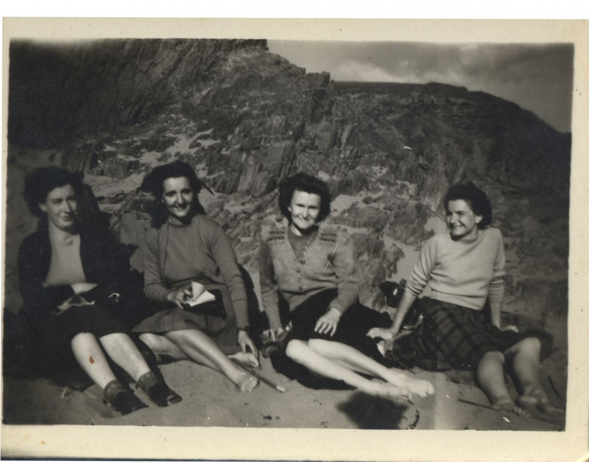 A young Emma (2nd from left) on a hostelling trip with friends.