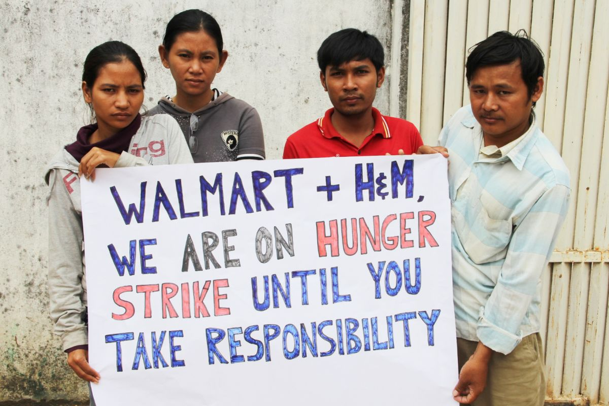Cambodian laborers for Wal-mart and H&M on hunger strike.