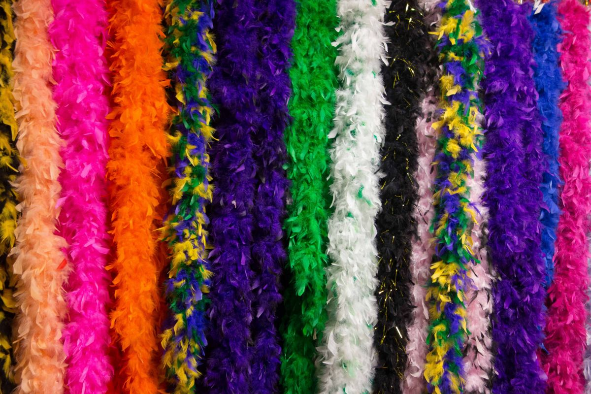 Feather boas from the Mardi Gras Zone.