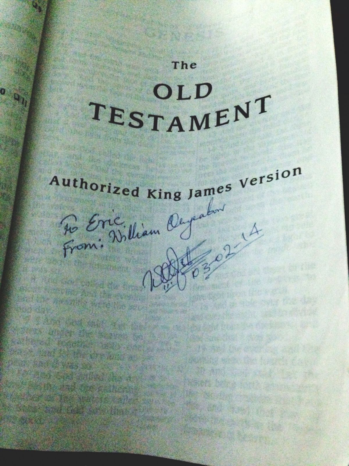Signed Bible from William to Eric.