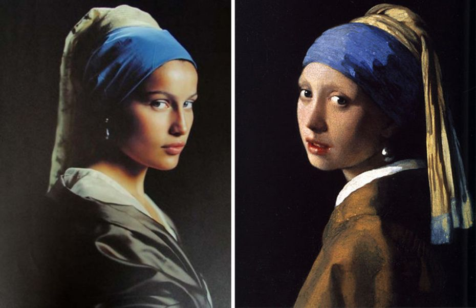 Laetitia Casta in Elle France, 1998, left, as Johannes Vermeer's 'Girl with a Pearl Earring,' right. (c. 1665, Oil on canvas, 17 ½ x 15 3/8 in.)