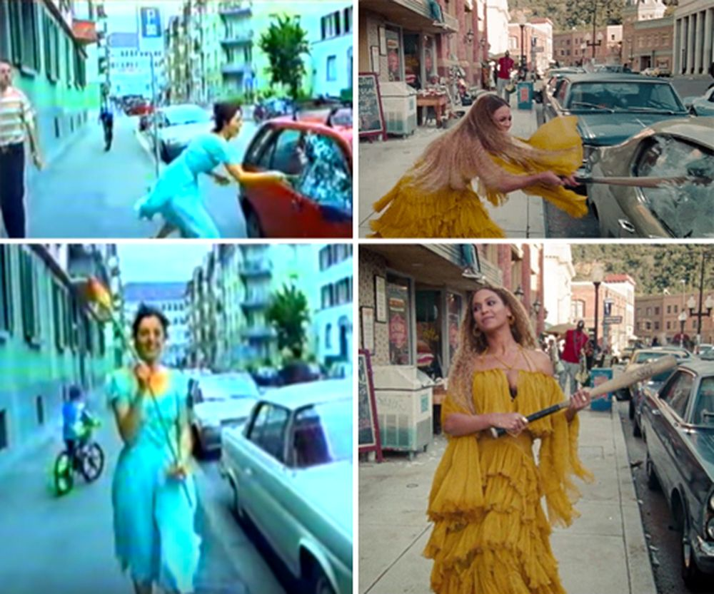 Stills from Pipilotti Rist's 'Ever Is Over All,' left (1997, Two-channel video with overlapping projections, color, sound with Anders Guggisberg), and to the right Beyoncé's music video 'Hold Up.' (2016)
