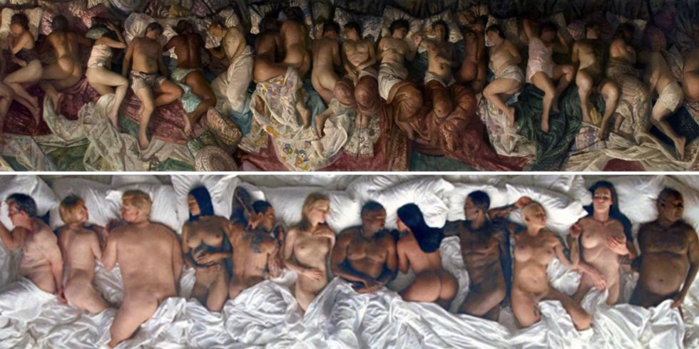 Vincent Desiderio's painting 'Sleep' (2003-2008, Oil on canvas, 8 x 24 feet) at top, and below a still from Kanye West's 'Famous' music video. (2016)