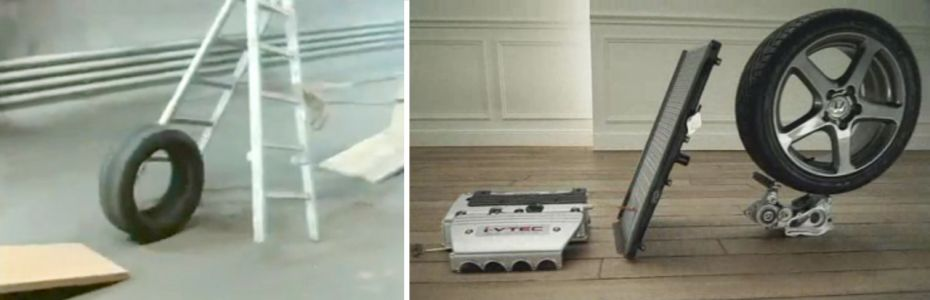 Stills from the film 'The Way Things Go,' left (1987), and to the right the Honda advertisement 'Cog.' (2003)