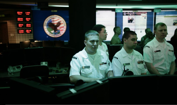 Employees inside the National Threat Operations Center at the National Security Agency.