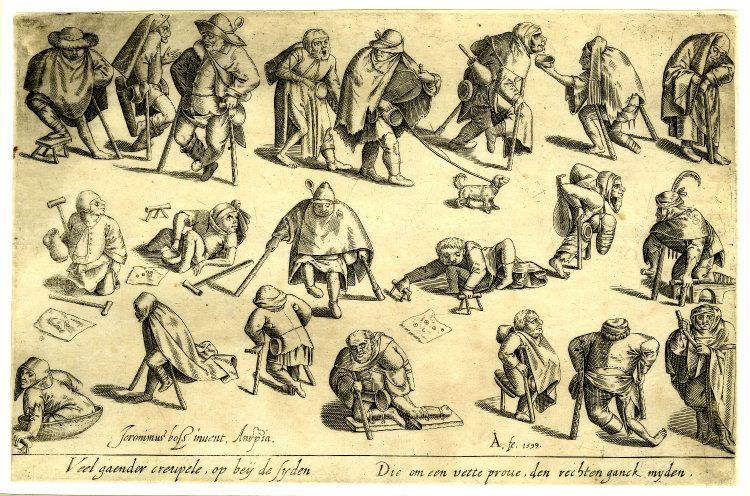'Cripples,' engraving from 1599. Currently at Noordbrabants Museum in s-Hertogenbosch, The Netherlands.