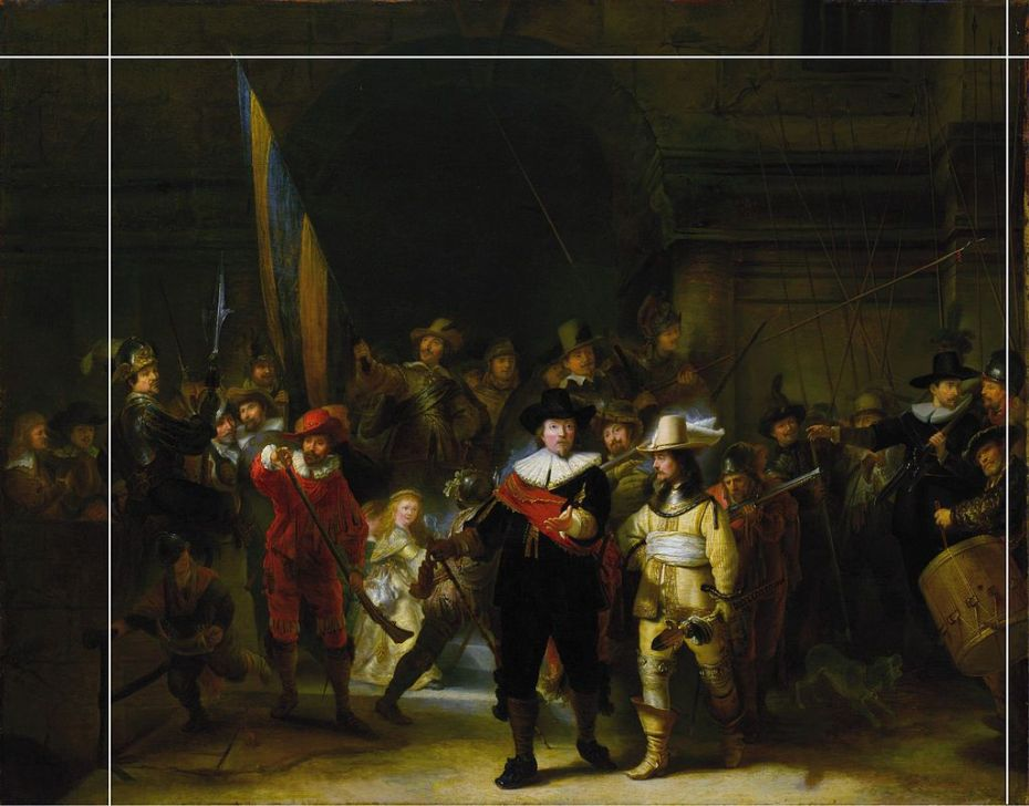 A 17th-century copy of Rembrandt's 'Night Watch' by Gerrit Lundens.